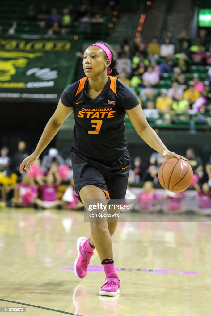 Oklahoma State Cowgirls forward/center Mandy Coleman (3) dribbles during the women's basketball game between Baylor and Oklahoma State on February 18, 2017, at the Ferrell Center in Waco, TX.