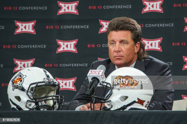 Oklahoma State head coach Mike Gundy takes questions during the Big 12 Conference Football Media Days on July 18 2017 at Ford Center at The Star in...