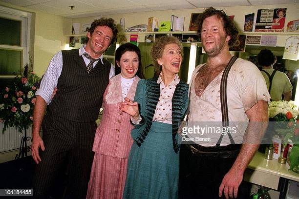 'Oklahoma' To The Lyceum Theatre Backstage Leading Cast Members Still In Costume Hugh Jackman Josefina Gabrielle Maureen Lipman And Shuler Hensley