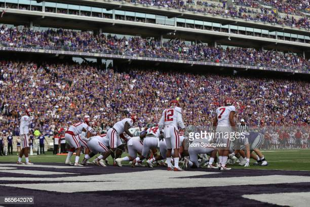Oklahoma tries to make a goalline stand in the first quarter of a Big 12 game between the Oklahoma Sooners and Kansas State Wildcats on October 21...