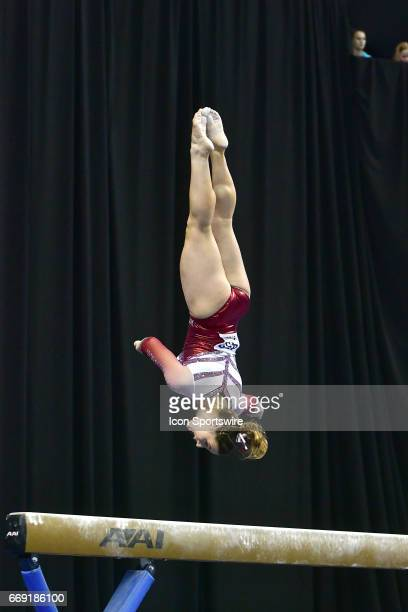 Oklahoma's Chayse Capps flips off of the balance beam during the finals of the NCAA Women's Gymnastics National Championship on April 15 at Chaifetz...