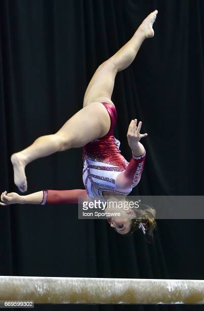 Oklahoma's Chayse Capps performs a flip on the balance beam during the finals of the NCAA Women's Gymnastics National Championship on April 15 at...