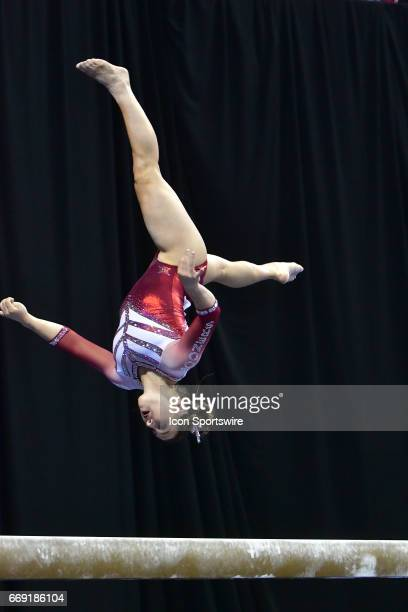 Oklahoma's Chayse Capps performs on the balance beam during the finals of the NCAA Women's Gymnastics National Championship on April 15 at Chaifetz...