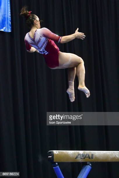 Oklahoma's Maggie Nichols dismounts from the balance beam during the finals of the NCAA Women's Gymnastics National Championship on April 15 at...