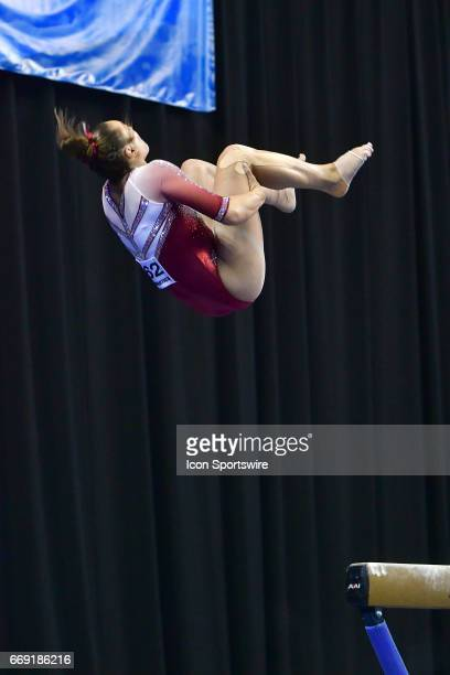 Oklahoma's Maggie Nichols flips off of the balance beam during the finals of the NCAA Women's Gymnastics National Championship on April 15 at...