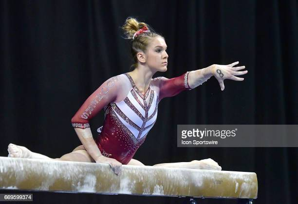 Oklahoma's Nicole Lehrmann performs her routine on the balance beam during the finals of the NCAA Women's Gymnastics National Championship on April...