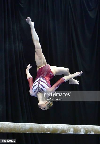 Oklahoma's Nicole Lehrmann performs on the balance beam during the finals of the NCAA Women's Gymnastics National Championship on April 15 at...