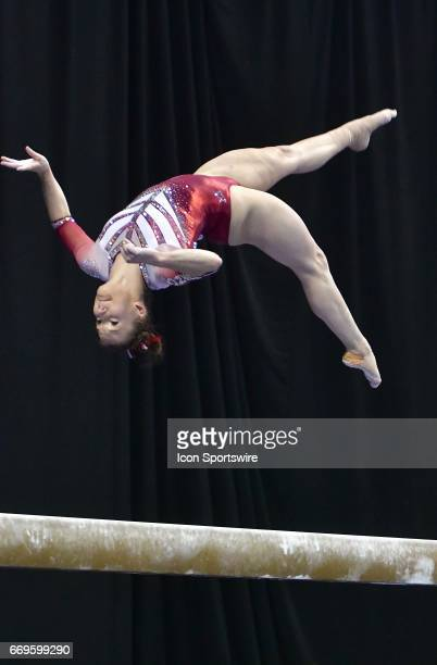 Oklahoma's Stefani Catour performs on the balance beam during the finals of the NCAA Women's Gymnastics National Championship on April 15 at Chaifetz...