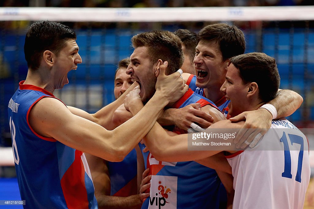 Okolic Aleksandar (center) of Serbia celebrates an ace late into the fifth set with teammates <a gi-track='captionPersonalityLinkClicked' href=/galleries/search?phrase=Marko+Podrascanin&family=editorial&specificpeople=4037691 ng-click='$event.stopPropagation()'>Marko Podrascanin</a> (left), Srecko Lisinac (second to right) and Neven Majstorovic (right) during the FIVB World League Group 1 Finals semi-final match against the United States at Maracanazinho on July 18, 2015 in Rio de Janeiro, Brazil.