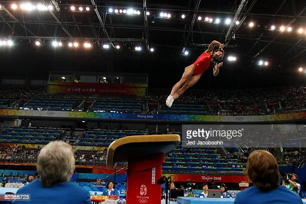 Oksana Aleksandrovna Chusovitina of Germany competes in the women's individual vault final during the artistic gymnastics event held in National...