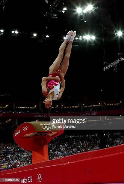 Oksana Chusovitina of Germany competes on the vault during the Artistic Gymnastics Women's Vault final on Day 9 of the London 2012 Olympic Games at...