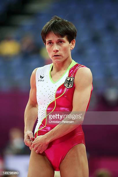 Oksana Chusovitina of Germany looks on during training sessions for Artistic Gymnastics ahead of the 2012 Olympic Games at Greenwich Training Academy...