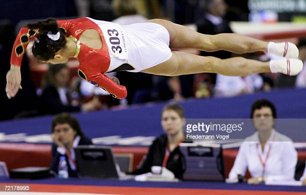 Oksana Chusovitina of Germany performs on the floor in the womens qualification during the World Artistic Gymnastics Championships at the NRGi Arena...