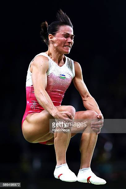 Oksana Chusovitina of Uzbekistan competes in the Women's Vault Final on Day 9 of the Rio 2016 Olympic Games at the Rio Olympic Arena on August 14...