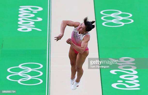 Oksana Chusovitina of Uzbekistan competes on the vault during Women's qualification for Artistic Gymnastics on Day 2 of the Rio 2016 Olympic Games at...