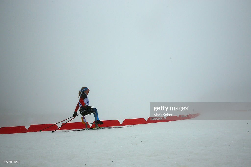 Oksana Masters of the USA competes under fog conditions in the Women's 10km Sitting Biathlon during day four of Sochi 2014 Paralympic Winter Games at Laura Cross-country Ski & Biathlon Center on March 11, 2014 in Sochi, Russia.