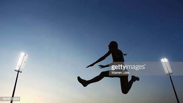 Oksana Zubkovska of Ukraine competes in the women's long jump T12 final during the Evening Session on Day Eight of the IPC Athletics World...