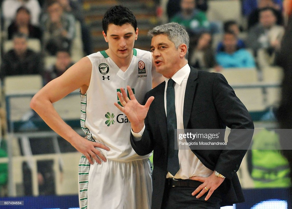 Oktay Mahmuti, Head Coach of Darussafaka Dogus Istanbul gives directions to his player Emir Preldzic, #55 during the Turkish Airlines Euroleague Basketball Top 16 Round 5 game between Panathinaikos Athens v Darussafaka Dogus Istanbul at Olympic Sports Center Athens on January 29, 2016 in Athens, Greece.