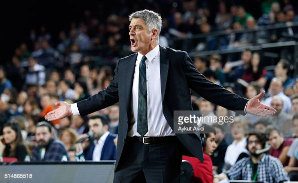Oktay Mahmuti Head Coach of Darussafaka Dogus Istanbul in action during the 20152016 Turkish Airlines Euroleague Basketball Top 16 Round 10 game...