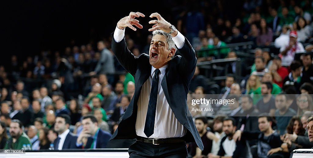 Oktay Mahmuti, Head Coach of Darussafaka Dogus Istanbul reacts during the Turkish Airlines Euroleague Basketball Regular Season Round 10 game between Darussafaka Dogus Istanbul v Maccabi Fox Tel Aviv at Vokswagen Arena on December 17, 2015 in Istanbul, Turkey.