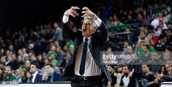 Oktay Mahmuti Head Coach of Darussafaka Dogus Istanbul reacts during the Turkish Airlines Euroleague Basketball Regular Season Round 10 game between...