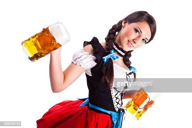 Oktoberfest Bavarian Menina com cervejas
