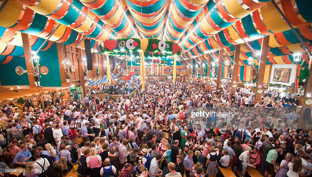 Oktoberfest from within  tent : Stock Photo