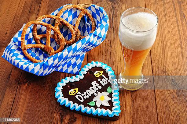 Oktoberfest Gingerbread heart with Pretzel and glass wheat beer