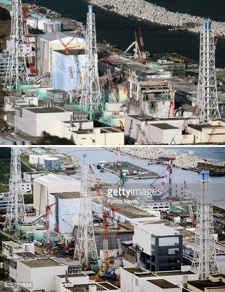 Okuma Japan Combination photos taken from a Kyodo News helicopter show the No 4 No 3 No 2 and No 1 reactor buildings at the crippled Fukushima...