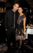 Ol Parker and Thandie Newton attend the Charles Finch and Chanel PreBAFTA cocktail party and dinner at Annabel's on February 8 2013 in London England