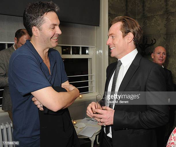 Ol Parker and Toby Stephens attend 'Private Lives' Press Night at Kettners on July 3 2013 in London England