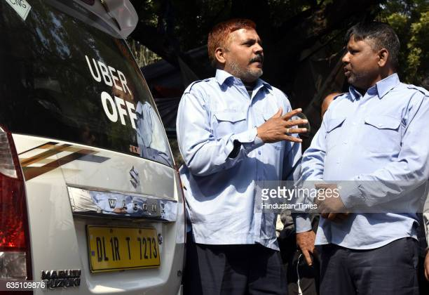 Ola and Uber taxi drivers on fourday strike against withdrawal of driver incentives and other demands at Jantar Mantar on February 13 2017 in New...