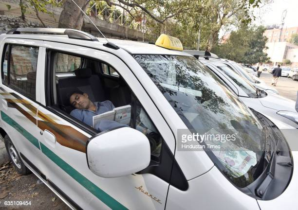 Ola and Uber taxi drivers on the fourth day strike against withdrawal of driver incentives and other demands at Jantar Mantar on February 13 2017 in...