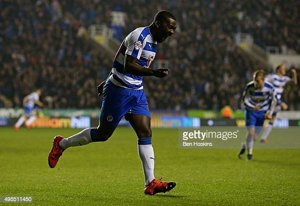 Ola John of Reading celebrates after scoring his team's second goal of the game during the Sky Bet Championship match between Reading and...