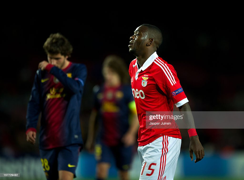 Ola John of SL Benfica reacts during the UEFA Champions League Group G match between FC Barcelona and SL Benfica at the Camp Nou stadium on December 5, 2012 in Barcelona, Spain.