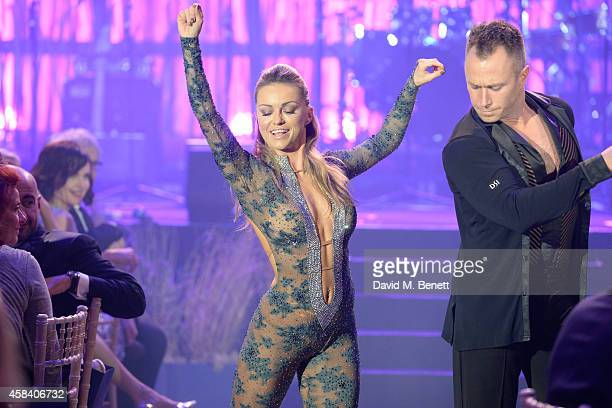 Ola Jordan and James Jordan on stage during the second annual SeriousFun Network Gala at at The Roundhouse on November 4 2014 in London England