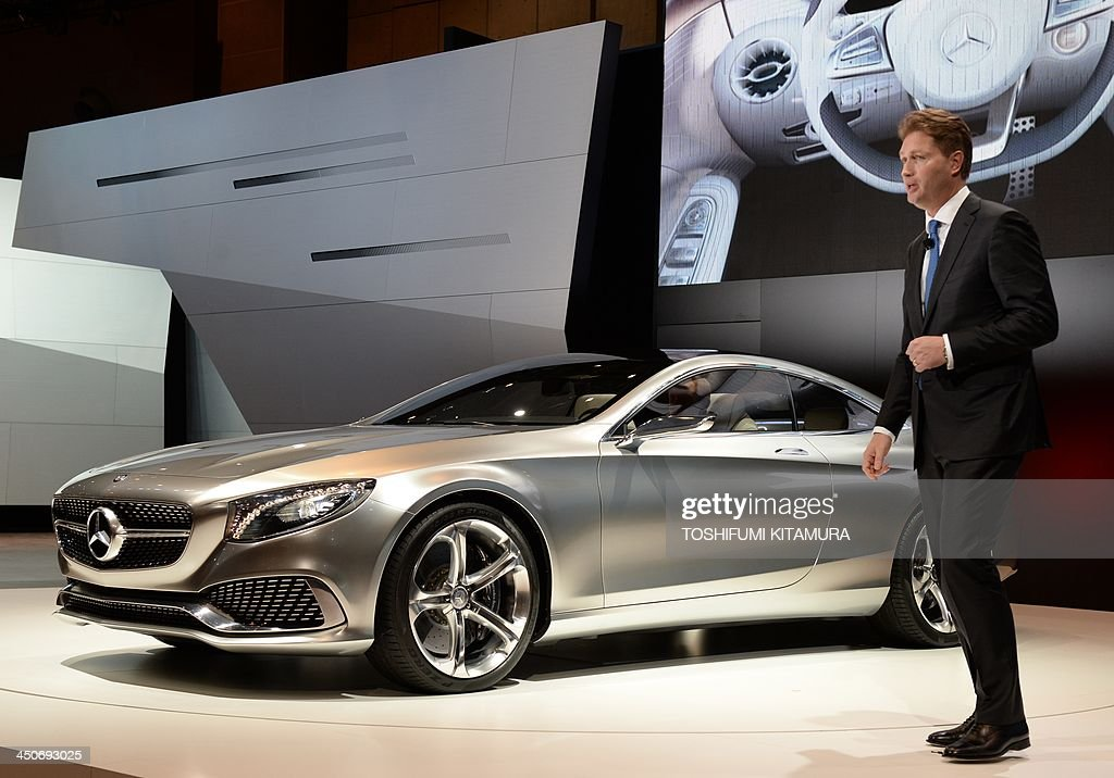 Ola Kallenius, a member of the divisional board for Mercedes-Benz cars introduces the company's 'Concept S-Class Coupe' during a press briefing at the Tokyo Motor Show in Tokyo on November 20, 2013. The motor show, held from November 20 to December 1, features domestic makers of passenger cars, commercial vehicles and trucks alongside most of their European competitors. AFP PHOTO / TOSHIFUMI KITAMURA