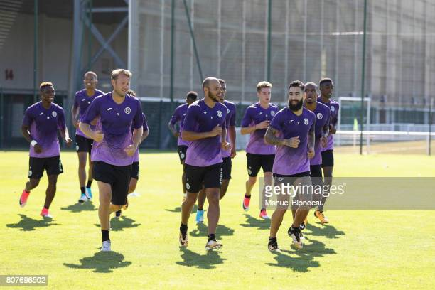 Ola Toivonen and Martin Braithwaite and Jimmy Durmaz of Toulouse during Press conference and training session of Toulouse on July 4 2017 in Toulouse...