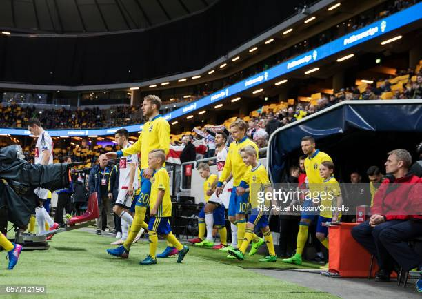 Ola Toivonen Emil Forsberg and Marcus Berg of Sweden during the FIFA 2018 World Cup Qualifier between Sweden and Belarus at Friends arena on March 25...