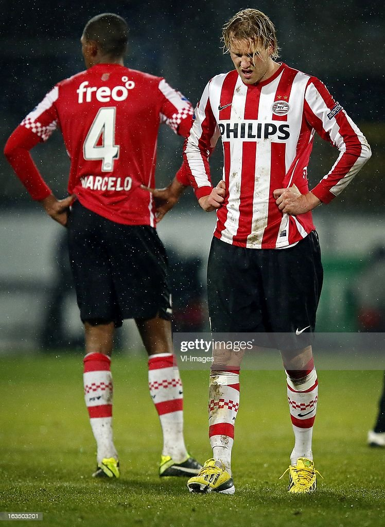 Ola Toivonen (R), Marcelo (L) during the Dutch Eredivisie match between SC Heerenveen and PSV Eindhoven at the Abe Lenstra Stadium on march 09, 2013 in Heerenveen, The Netherlands