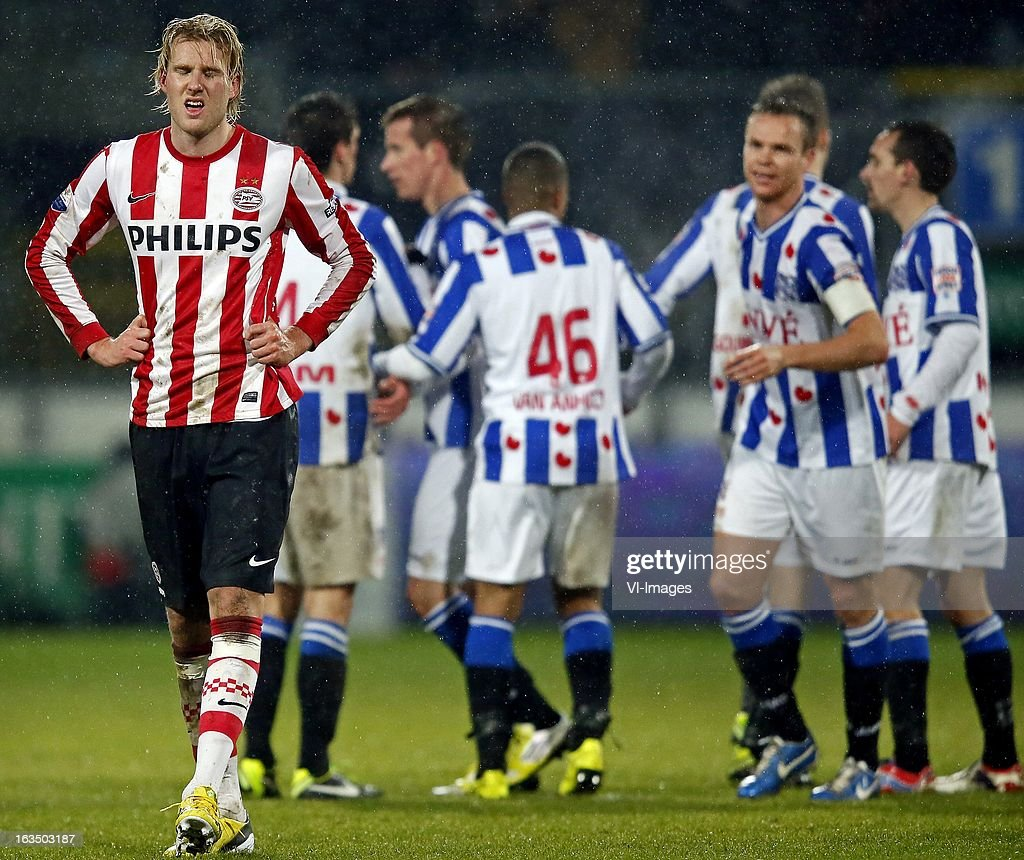 Ola Toivonen of PSV (L) during the Dutch Eredivisie match between SC Heerenveen and PSV Eindhoven at the Abe Lenstra Stadium on march 09, 2013 in Heerenveen, The Netherlands