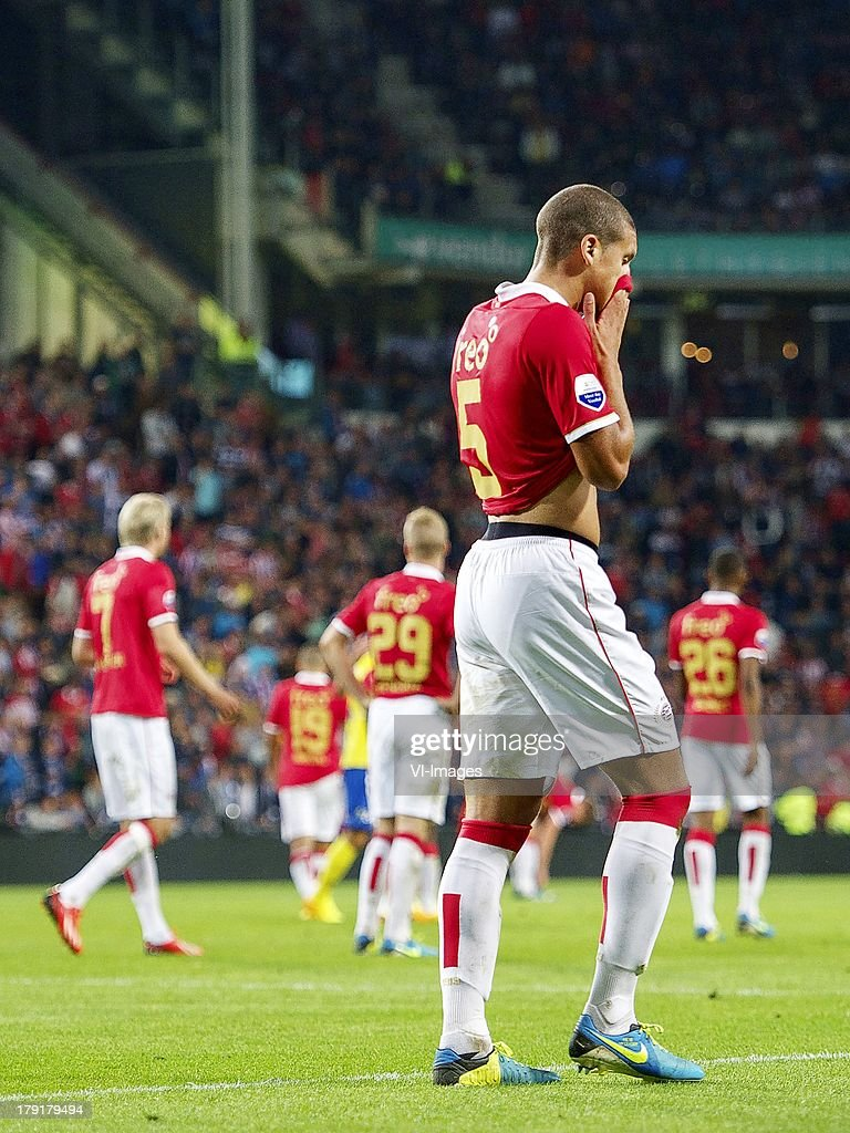 Ola Toivonen of PSV, Zakaria Bakkali of PSV, Jorrit Hendrikx of PSV, Jeffrey Bruma of PSV, Joshua Brenet of PSV during the Dutch Eredivisie match between PSV and SC Cambuur at Philips stadium on August 31, 2013 in Eindhoven, The Netherlands.