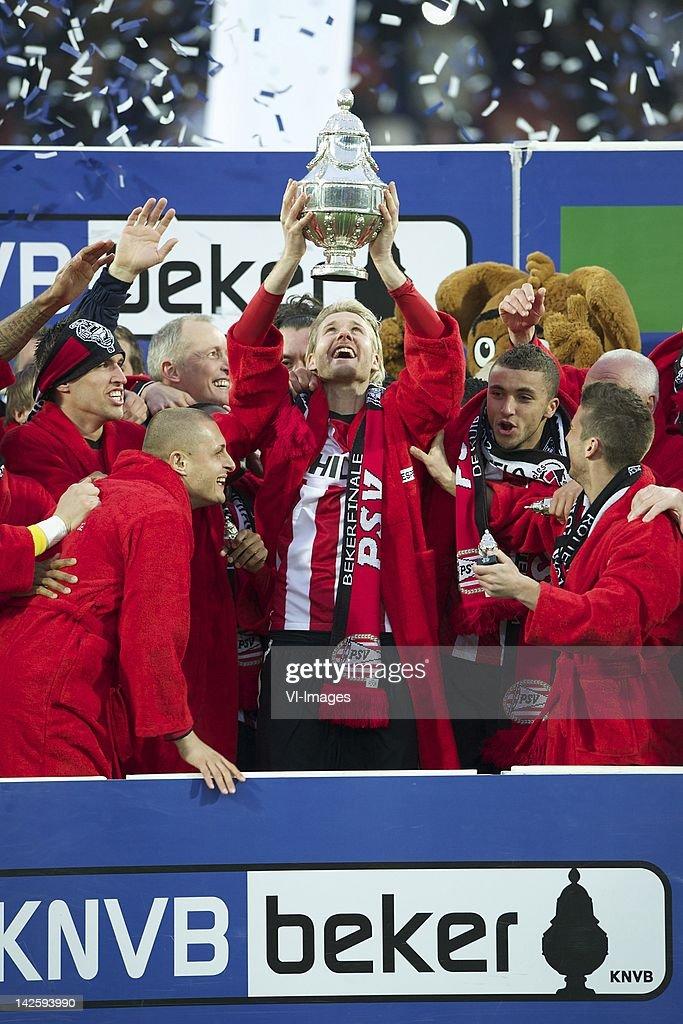 Ola Toivonen of PSVTimothy Derijck of PSVOla Toivonen of PSVZakaria Labyad of PSVDries Mertens of PSV during the Dutch Cup final match between PSV...