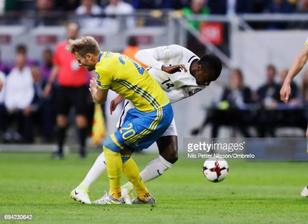 Ola Toivonen of Sweden and Blaise Matuidi of France competes for the ball during the FIFA 2018 World Cup Qualifier between Sweden and France at...
