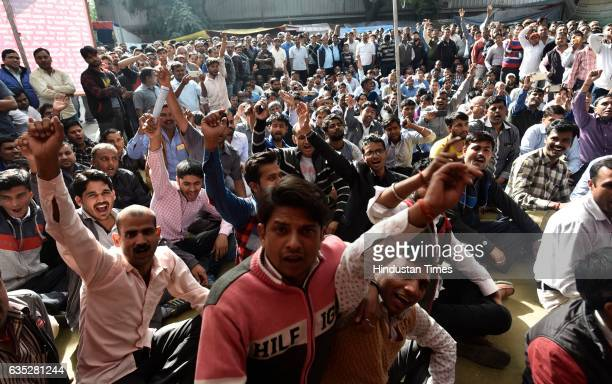 Ola Uber drivers shouting slogans during a dharna at Jantar Mantar on February 14 2017 in New Delhi India For the last five days cab aggregators Ola...