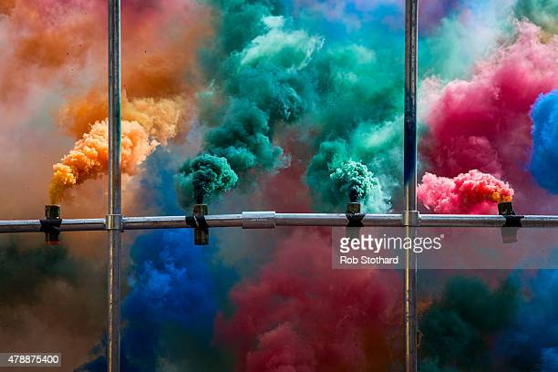 Olaf Breuning's Smoke Performance during day two of 'Station To Station A 30 Day Happening' opening weekend at Barbican Art Gallery on June 28 2015...