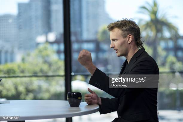 Olaf CarlsonWee founder and chief executive officer of Polychain Capital speaks during a Bloomberg Technology interview in San Francisco California...