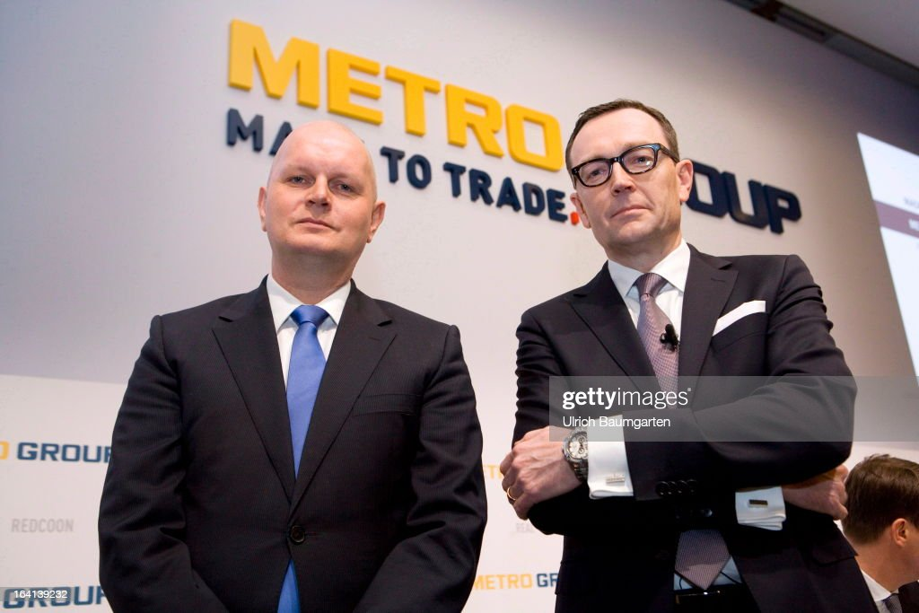 Olaf Koch (L), CEO of the Metro AG, and Mark Frese, financial chairman of the Metro AG, before the company's results news conference on March 20, 2013 in Duesseldorf, Germany. The German retail giant announced a drop in its profits for 2012, blaiming it on higher investment levels and operating conditions.