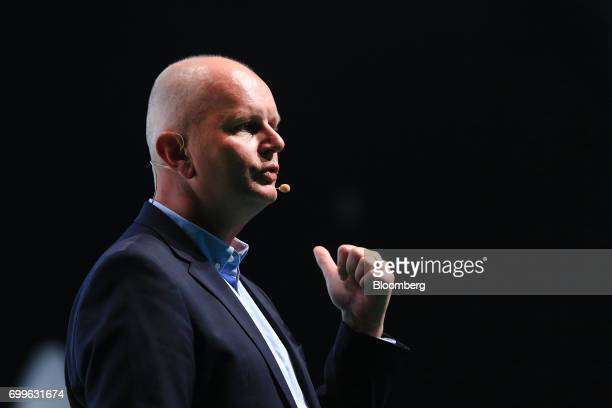 Olaf Koch chief executive officer of Metro AG speaks during the Noah technology conference in Berlin Germany on Thursday June 22 2017 The conference...