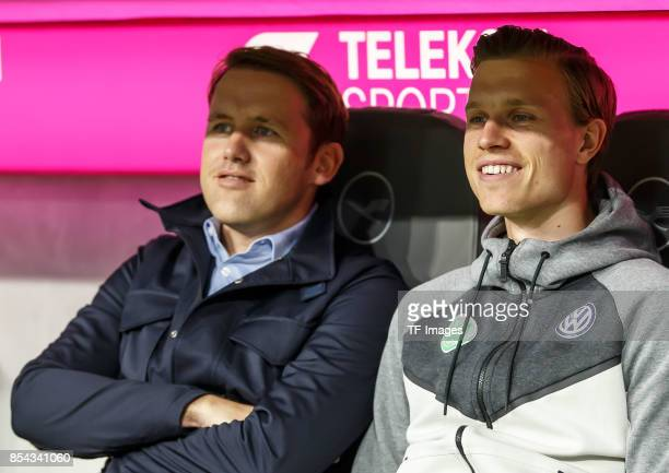 Olaf Rebbe of Wolfsburg and Yannick Gerhardt of Wolfsburg looks on during the Bundesliga match between FC Bayern Muenchen and VfL Wolfsburg at...